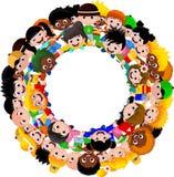 Круг счастливых детей различных гонок иллюстрация штока