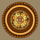 Круг с декоративными элементами Нарисовано вручную Золото вектора в коричневых тенях бесплатная иллюстрация