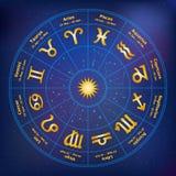 Круг с знаками зодиака также вектор иллюстрации притяжки corel иллюстрация вектора