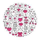 Круг с символами влюбленности в линии стиле Полюбите датировка отношения пар wedding романтичная тема концепции любов уникально иллюстрация вектора
