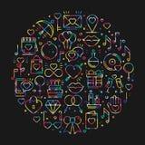 Круг с символами влюбленности в линии стиле Полюбите датировка отношения пар wedding романтичная тема концепции любов уникально иллюстрация штока