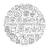 Круг с символами влюбленности в линии стиле Полюбите датировка отношения пар wedding романтичная тема концепции любов уникально бесплатная иллюстрация