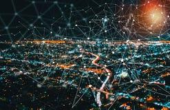Круг техника цифров с городским Лос-Анджелесом стоковые изображения rf