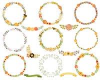 Круглые венки рамки цветка Бесплатная Иллюстрация
