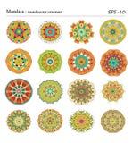 Круглые геометрические орнаменты установленные имеемого нарисованного doodle Стоковые Фото