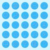 Круглые голубые значки сети иллюстрация штока