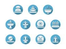 Круглые голубые плоские значки для фонтанов Стоковое Изображение