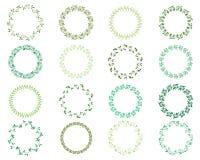Круглые зеленые венки для ярлыков, приглашений Иллюстрация штока