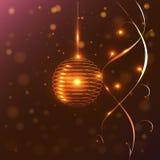 Круглые золотые фонарики и света, Стоковое Фото