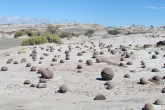 Круглые камни в Ischigualasto Стоковое Изображение