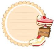 Круглые канцелярские принадлежности с тортами иллюстрация штока