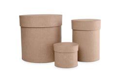 Круглые коробки для подарков на белой предпосылке Стоковые Фотографии RF