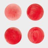 Круглые красные пятна Текстура acrylic Запачканные чернила Стоковые Фотографии RF