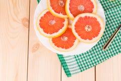 Круглые куски грейпфрута Стоковые Изображения