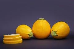 Круглые куски цукини на фиолетовой предпосылке 3 всех желтых цукини Овощи от сада скопируйте космос Стоковые Фотографии RF
