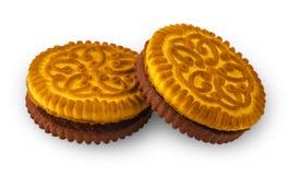 Круглые печенья на белой предпосылке Стоковая Фотография RF
