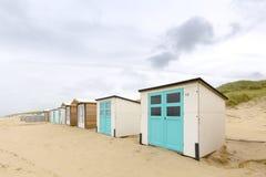Круглые пляжные домики Texel Стоковое фото RF