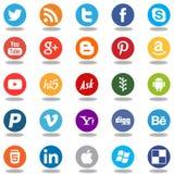 Круглые социальные значки логотипа app сети средств массовой информации Стоковые Фото