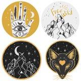 Круглые шаблоны с горами, головой лисы, рукой, луной Иллюстрация штока
