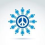 Круглый антивоенный значок вектора, отсутствие символа войны Люди мира co Стоковая Фотография RF