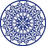 Круглый голубой орнаментальный элемент, вектор Стоковые Изображения