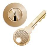 Круглый замок и ключ tumbler Pin Стоковая Фотография