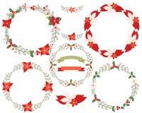 Круглый комплект границы венка рождества Бесплатная Иллюстрация
