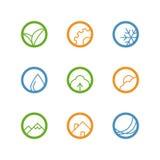 Круглый комплект значка плана вектора Стоковое Изображение