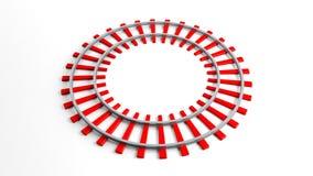 Круглый красный железнодорожный путь иллюстрация вектора