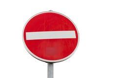 Круглый красный знак отсутствие дорожного знака входа изолированного на белизне Стоковые Изображения