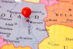 Красный Pushpin на карте на Польша Стоковое Изображение RF