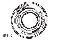 Круглый логотип на белой предпосылке Стоковое фото RF