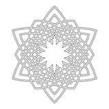 Круглый орнамент для книжка-раскрасок Черная, белая картина Шнурок, снежинка Стоковое Фото