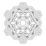 Круглый орнамент для книжка-раскрасок Черная, белая картина Шнурок, снежинка Стоковая Фотография