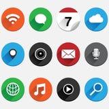 Круглый плоский комплект значка App Стоковое Изображение RF