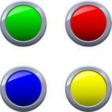 Круглый сияющий лоснистый обрамленный вектор EPS10 кнопок Стоковая Фотография RF