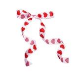 Круглый смычок от сердец ленты на день ` s валентинки St Стоковая Фотография