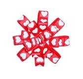 Круглый смычок от сердец ленты для ` s валентинки St Стоковое Фото