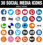 Круглый социальный комплект собрания значков средств массовой информации плоско простой современный Стоковые Изображения