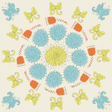 Круглый солнечный орнамент с цветком Иллюстрация вектора