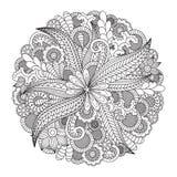 Круглый цветочный узор для книжка-раскраски Стоковые Фотографии RF