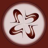 Круглый элемент дизайна изолированный на белой предпосылке в коричневой рамке Стоковая Фотография