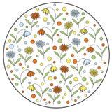 Круглый элемент с цветками и колокольчиками маргаритки Стоковые Фото