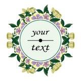 Круглый ярлык с красивыми цветками Стоковая Фотография RF