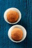2 круглых домодельных трюфеля vegan в бумажных тарелках на темносинем b Стоковые Фотографии RF