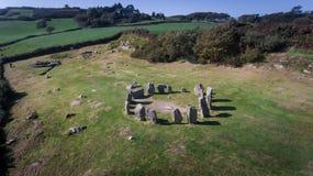 Круг Drombeg вида с воздуха каменный Пробочка графства Ирландия стоковое фото rf