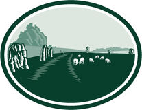 Круг Henge камня Avebury ретро Стоковая Фотография