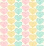 Кружевная богато украшенная безшовная картина с сердцами Стоковое Изображение RF