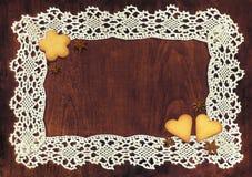 Кружевная рамка и печенья Стоковые Изображения