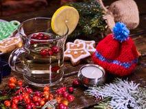 Кружка печений и стекел плиты Красная зима символа шляпы Стоковое Фото